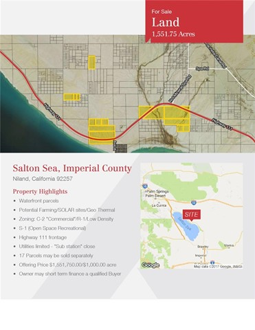 Single Family for Sale at 0 Highway 111 Niland, California 92257 United States