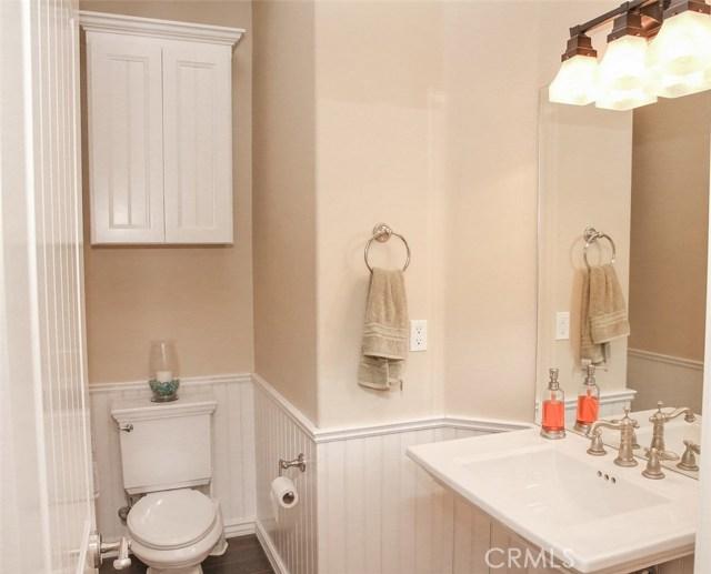 Bath 2- Wainscoting walls. Porcelain pedestal sink