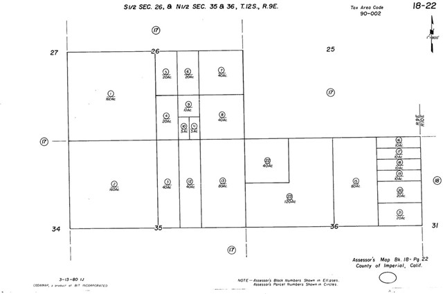 Land for Sale at nw4 of nw4 sec 36 12-9 Brawley, California United States
