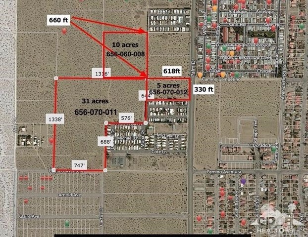 Single Family for Sale at 46 Acres Palm Dr Frontage Desert Hot Springs, California 92241 United States