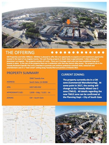Combo - Residential and Commer for Sale at 2940 Tweedy Boulevard South Gate, California 90280 United States