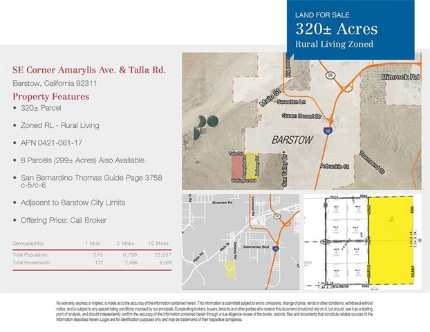 Single Family for Sale at 0 Amarylis Avenue Barstow, California United States