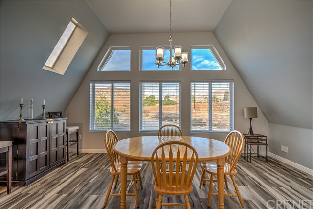 Large dining room with mountain views.