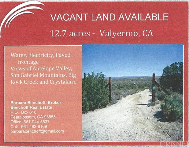 0 Vac/Valyermo Rd/Vic Avenue X Valyermo, CA 93553 - MLS #: SR17276190