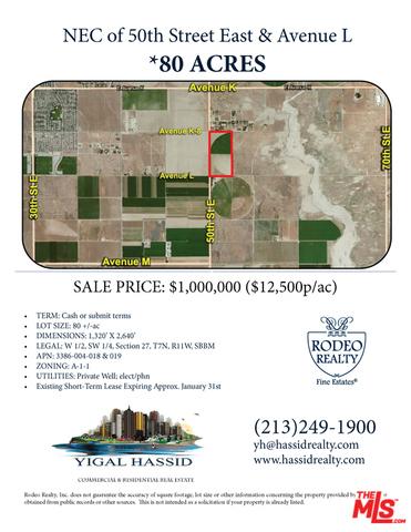 Single Family for Sale at 5119 Avenue L E Lancaster, California 93535 United States