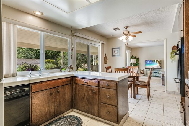 Kitchen connected to large backyard