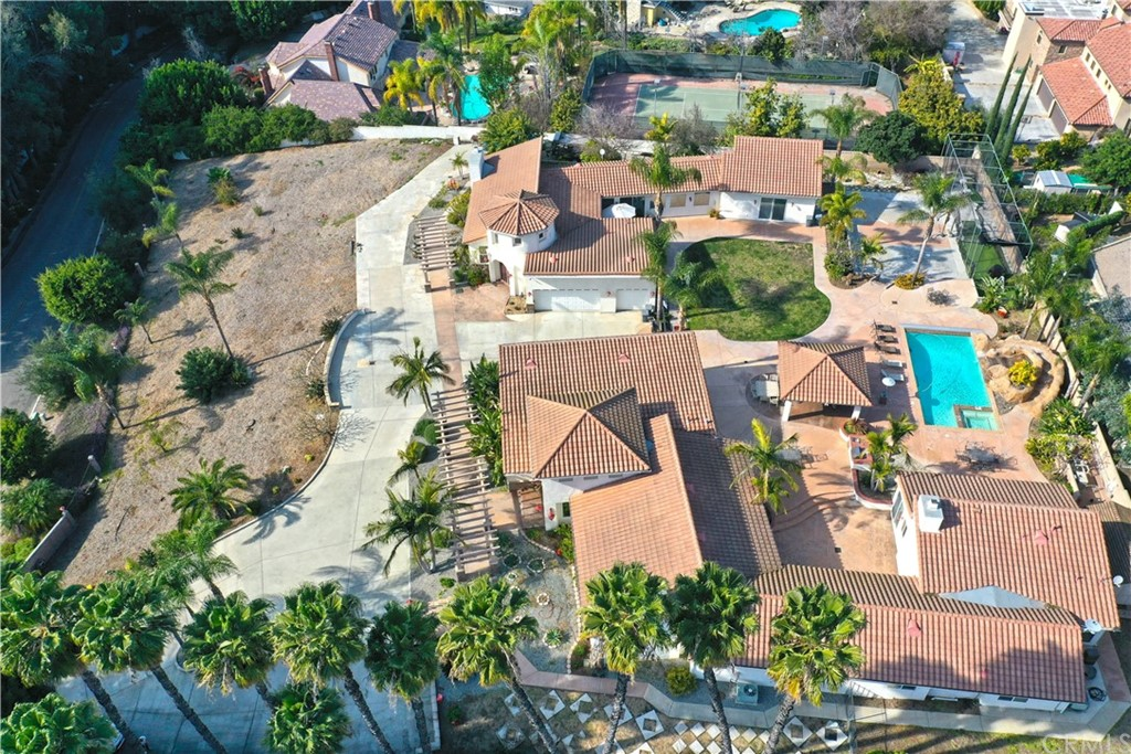 Aerial of the complex, two homes.