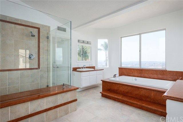 Master suite bathroom and HER SIDE, large tub, vanity and an awesome view with all the naturel light coming in.