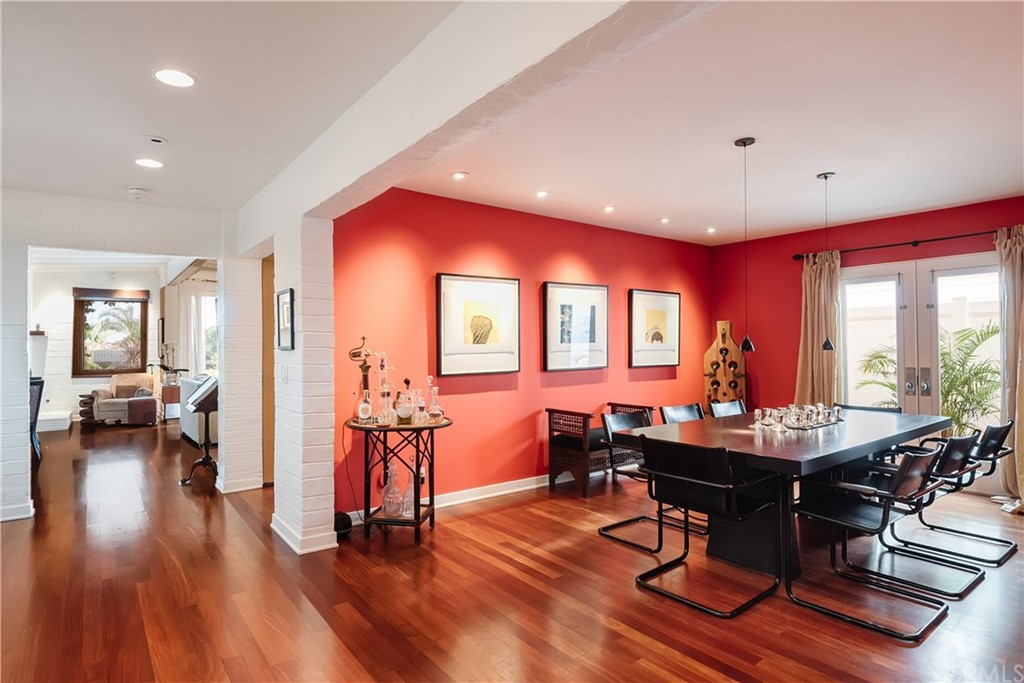 Short term 4 bed/3.5 bath rental available July 1 - Nov 1, 2021. Get ready, this one is special.  Living here is like living at a spa retreat in this one-of-a-kind fully furnished & uniquely appointed home in the heart of the Tree Section on the coveted gas lamp & eucalyptus lined street of 31st.  An elevated spacious front patio sets the tone: A Balinese day bed for 2 to lounge in the sun or sit at the outdoor dining table surrounded by incredible foliage.  Follow the path to the front door & the magic unfolds:  art, textures, cool vibes, European influences, sophistication, old world charm. The kitchen is gorgeous, bright & fully equipped w/gizmos galore for any chef. Past the kitchen & breakfast room is a Moroccan inspired lush patio w/a bubbling water feature. In addition to the spacious bedrooms, all on top floor, there is a separate office, separate dining room with red walls & leather dining chairs, two comfy living rooms with white painted brick walls, vaulted wood ceilings, and even a piano.   The master has a patio created for relaxation & meditation among the palms & bamboo furniture.  The luxurious master bath has heated floors, a soaking tub for 2 & a bidet.  There is also an infrared sauna for your use.  The photos show just a glimpse of what it is like to live within the walls of this home.  The problem will be that you will want to stay long term.  6 Blocks to the beach, 1 block to the park and Sand Dune, bike or walk to Downtown MB, super close to LAX.