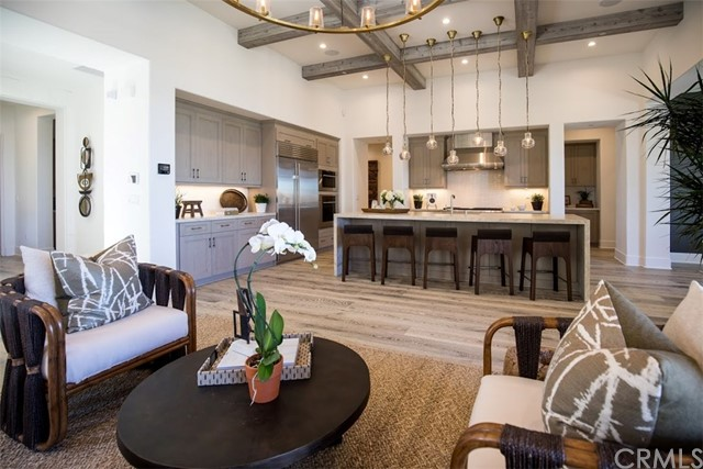 Great room and kitchen, same floorplan as shown in model home.