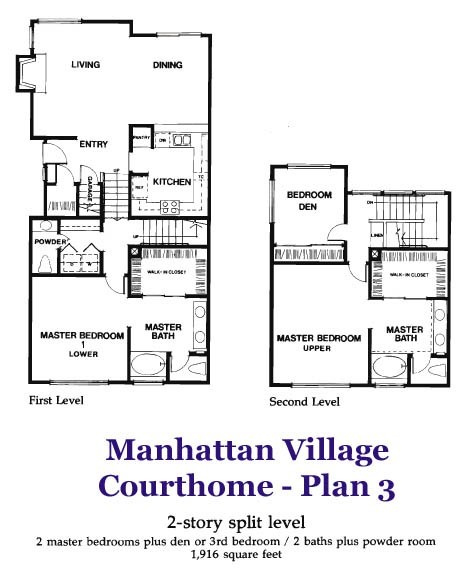 Floor plan though FP is near dining room wall, shows upper master is the larger one with a balcony.