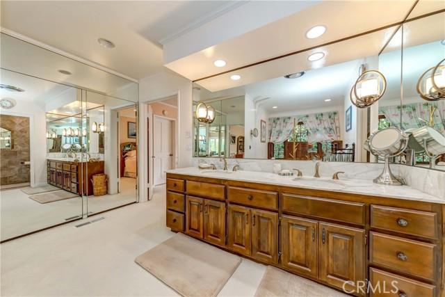 Master bathroom includes mirror sliding door closet