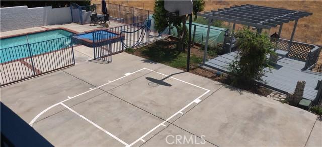 Basketball court, pool and gazebo