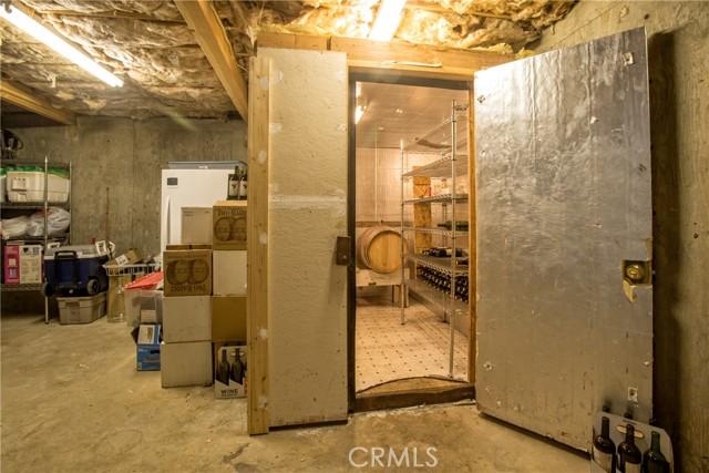 Wine room in basement area