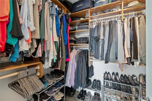 spacious walk in closet