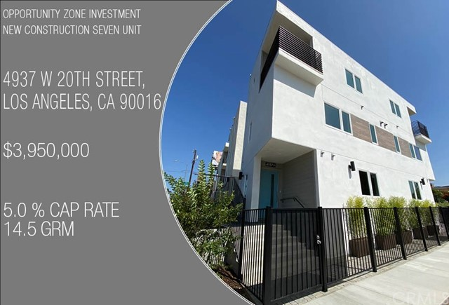 SEVEN ON 20TH  OPPORTUNITY ZONE – NEW CONSTRUCTION SEVEN UNIT NEAR COMPLETION  We are pleased to announce a nearly complete opportunity zone investment. The property is a new construction seven-unit complex, Green Certified, and located minutes from the Arts District, Culver City Steps and Ivy Station, which house Amazon Studios, Sony Pictures, HBO, Beats Electronics and many more tech and entertainment companies pouring into the neighborhood.  Final inspections are nearing, which allows a buyer to take advantage of Opportunity Zone tax incentives.  Incredible rent comps are being achieved in this neighborhood, driven largely by the talent from the surrounding tech hubs and supporting services providing high-paying and stable employment. This non-rent-controlled luxury complex is comprised of three duplexes and one detached single family, totaling seven new construction, each with private laundry rooms and two parking spaces. Each unit is equipped with separate meters for water, gas and electricity. The property will be completed with drought tolerant landscaping, as well as energy efficient building materials, appliances and fixtures presenting the buyer with a fully warrantied, low maintenance, environmentally friendly property.  Please contact us regarding this opportunity or one of the seller's many other similar developments throughout Los Angeles.