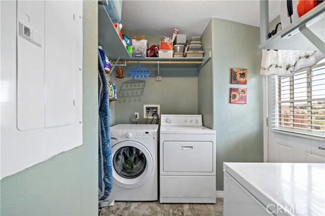 Laundry room w door to side yard.