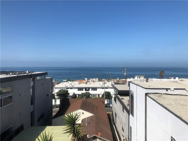 COMPLETELY FURNISHED OR UNFURNISHED, SAME PRICE!!!  Enjoy every aspect of beach living in this Penthouse condo in the heart of downtown Manhattan Beach. Breathtaking panoramic ocean views with a clear shot of Palos Verdes Hills, Catalina Island, the Manhattan Beach Pier and Malibu. Upgrades include newly refinished hardwood floors, kitchen counter tops, bathroom surfaces, fixtures, newer appliances and fresh paint throughout. This condo offers tons of natural light, a functional floor plan, ample closet space, and unbeatable location being just blocks from restaurants, shopping, and the sand. One car garage parking, storage, and on-site laundry.