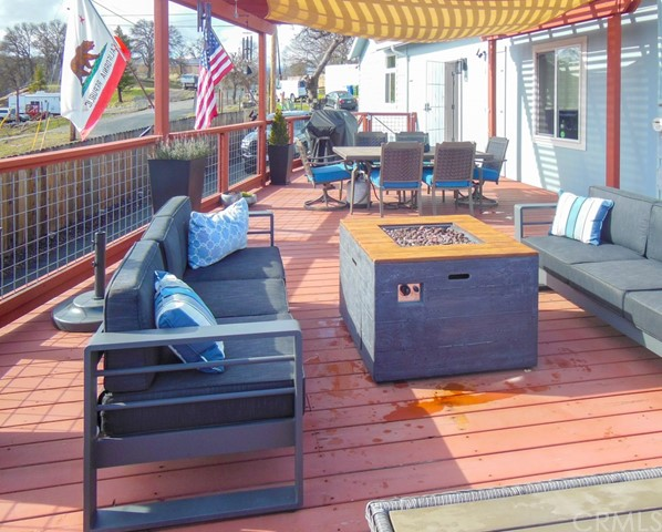 huge deck with propane plumbed for fire pit and BBQ