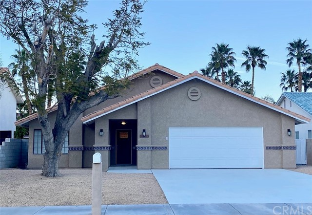 This stunning POOL-HOME has been FULLY REMODELED. From the open-concept kitchen and living areas to the large, shaded backyard with a California room, there is plenty of space for everyone to enjoy! Updates include: NEW kitchen cabinets w/ under-cabinet lighting, NEW countertops and NEW stainless-steel appliances, NEW bathroom vanities and lighting, and a NEWLY re-plastered pool and spa. NEWLY PAINTED INSIDE & OUT with NEW FLOORING and LIGHTING throughout the entire home! A FULLY PAID for SOLAR SYSTEM is INCLUDED to keep those desert electric bills low!! Situated in the desirable Panorama neighborhood near a great park, and minutes from Palm Springs, this home will not last!!