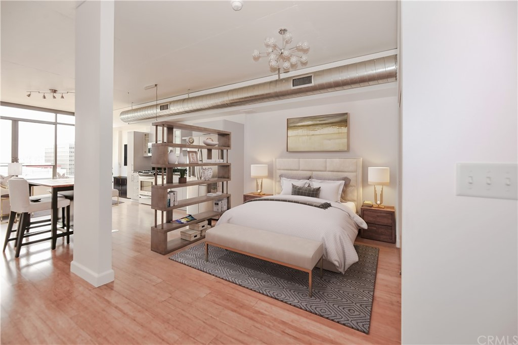 Virtually staged bedroom area.