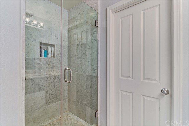 Gorgeous tile work in the shower of the master bathroom