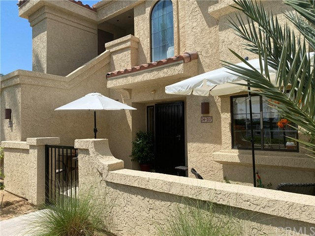 This condo is in the highly desirable Cathedral Canyon Country Club. This charming 2-bedroom, 2-bathroom, 1,255 square foot condo has updated kitchen granite countertops, glass front cabinets and high-quality Bosch dishwasher. Condo was renovated in 2013 with all new ceramic tile floors throughout, ceiling fans and furnishings. Condo features 2 spacious bedrooms, and each has a spacious walk-in closet. New washer and dryer conveniently located in the unit. The front courtyard patio is just steps from the large community pool and spa. Enjoy the mountain view from the rear covered patio with access from the living room and master suite. This quiet community boasts a large recently updated clubhouse complete with an 18-hole golf course, pro shop, tennis courts and restaurant with a full bar. All of this within walking distance without leaving the community. Close to shopping, restaurants and a new casino coming soon. Your new home awaits.