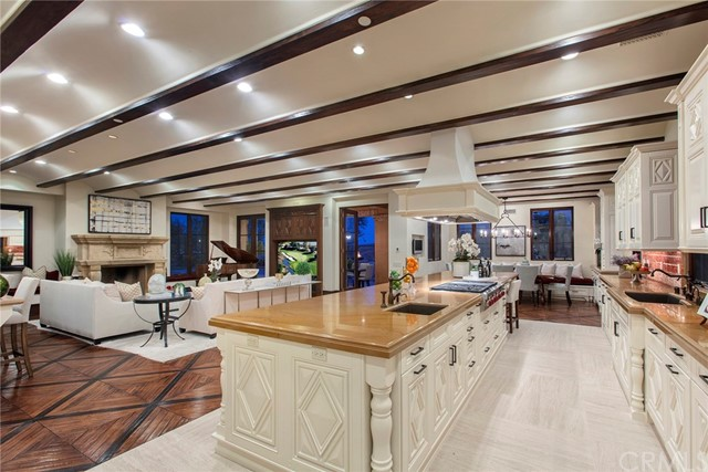 Nestled on top of a hill in the exclusive private guard gated community of Shady Canyon, this spacious 6 bedroom estate encompasses romance & warmth. The expansive, open floor plan offers rooms that effortlessly flow into one another. Features included are, limestone fireplaces, hand-crafted cabinets and built-ins, forged iron chandeliers, custom wood-floors, hand-painted clay tiling, and intricate arched ceilings. Located on an ideal corner lot, visitors are greeted with a courtyard adorned with blooming citrus trees & an inviting fountain. The estate occupies over three-quarters of an acre which has allowed for 2 motor-courts and a 5 car garage. Ideal for entertaining, the home is equipped  with an over-sized kitchen with all Wolf appliances, subzero fridge, service kitchen, wine cellar, sunken bar, and formal dining room. The ground floor also houses a full home theater, library, game room, exercise room, casita  and a junior master suite complete with a dry sauna and steam room. The second-floor consists of three bedroom suites in addition to the magnificent master bedroom along with a full sitting room and fireplace. The spa-influenced bath suite is complete with jacuzzi tub, oversized shower, and dual water closets. Shady Canyon offers a private country club, fitness facilities, tennis courts, biking trails, and a community pool. Just a short drive to pristine beaches, this home offers the beauty, serenity, and privacy of the Tuscan countryside.