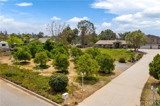 Beautiful Custom Woodcrest Luxury Home on an Incredibly quiet street, with low taxes and NO HOA. Mature Orange Grove trees, Olive tree, Fig trees and a water feature in the front yard, plus a long driveway leading up to the house with plenty of parking for your guests.  This Beauty has 2 master bedrooms (one upstairs and one downstairs which has been customized for handicap / Wheelchair accessibility). Upstairs Master Bedroom has a retreat with an exceptionally large bedroom area and master bathroom with a large soak tub, separate shower, double sinks with granite counters and built in cabinets, walk in custom closet and separate toilet closet.  This home has a magnificent custom Luxurious Chandelier hanging in foyer above the wood staircase. The kitchen has granite counter tops, new built-in microwave, which leads to Laundry room that explodes with storage space. There are two fireplaces, one in the family room and the other in the living room. Luxury ceiling fans throughout. This home has a security alarm system currently in place (Brinks), as well as the home being hard-wired for security cameras. There are three bedrooms downstairs. The Master Bedroom downstairs has double doors leading you outside to the serene backyard, which has a large covered alumawood patio with two ceiling fans that guide you to a white bridge over a small stream of water (po