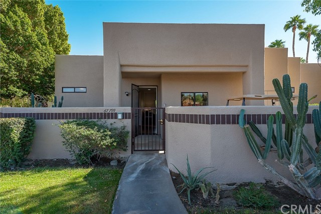 Everyones first choice in two bedroom 2 bath condos, The Alameda Floor plan faces south and features 2 master retreats on opposite sides of the main living space. This home has been nicely updated and expanded interior footprint, adding a dining area off the living room. The kitchen is updated with newer cabinets and granite counters, recessed lighting and breakfast bar opening to the living room. The dining area has laminate flooring to separate it from the entry and living room tile. The living room is spacious with ceramic tile flooring and opens to the large outdoor patio with multiple options for lounging or dining. The main bedroom is spacious and maintains the large walk in closet and remodeled bath. The 2nd retreat has been modified allowing for the dining area and still has ample storage and a remodeled bathroom. Features include but not limited to: fresh paint, ceiling fans, 3 year old high capacity/ energy conserving Lennox AC, Gas lines run to both patios for grills or fire rings, and so much more. The Desert Princess has an affordable 27-hole PGA Championship golf course, no Tee-time lotteries, no initiation fees, rated among the best in the valley by GOLF DIGEST. This quiet community is away from the noise yet minutes from everything that is in Palm Springs; restaurants, shopping, casinos, an international airport, the Tramway, Art Museum, Theaters, and the Street Fair. Land Lease expires 2069!