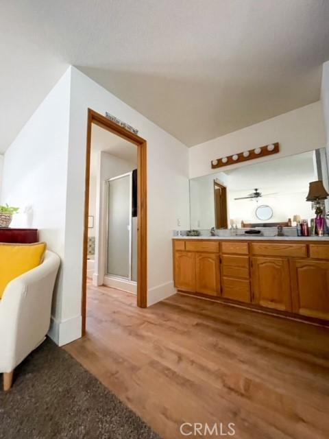 Duel sink vanity in master bedroom.