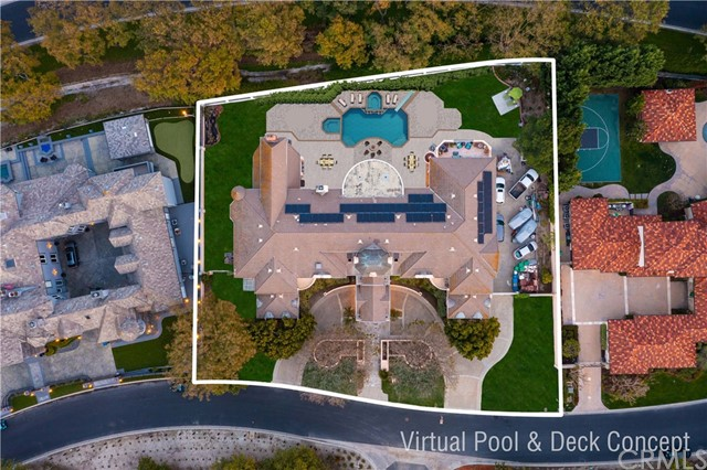 Virtually updated to show aerial view of home with optional pool and deck updates.
