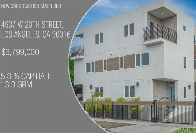 SEVEN ON 20TH  -NEW CONSTRUCTION SEVEN UNIT- We are pleased to announce a Green Certified new construction seven-unit complex. The property is located just minutes from the Arts District, Culver City Steps and Ivy Station, which house Amazon Studios, Sony Pictures, HBO, Beats Electronics and many more tech and entertainment companies pouring into the neighborhood. Certificates of Occupancy for all units have just been issued and leasing has begun. Incredible rent comps are being achieved in this neighborhood, driven largely by the the surrounding tech hubs and supporting services providing high-paying and stable jobs. Mid-City on the whole has been a very hot market, but the west side, which is adjacent to Beverlywood and Culver City, has enjoyed much of the demand. This non-rent-controlled luxury complex is comprised of three duplexes and one detached single family, totaling seven new construction, each with private laundry rooms and two parking spaces. Each unit is equipped with separate meters for water, gas and electricity as well as an owner's common area electric meter for exterior lighting and common area water meter for servicing and landscape irrigation. The property will be completed with drought tolerant landscaping, as well as energy efficient building materials, appliances and fixtures presenting the buyer with a fully warrantied, low maintenance, environmentally friendly property.
