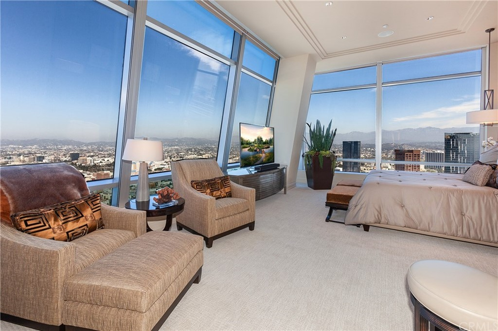Master bedroom with views to the Hollywood Hills and the Ocean