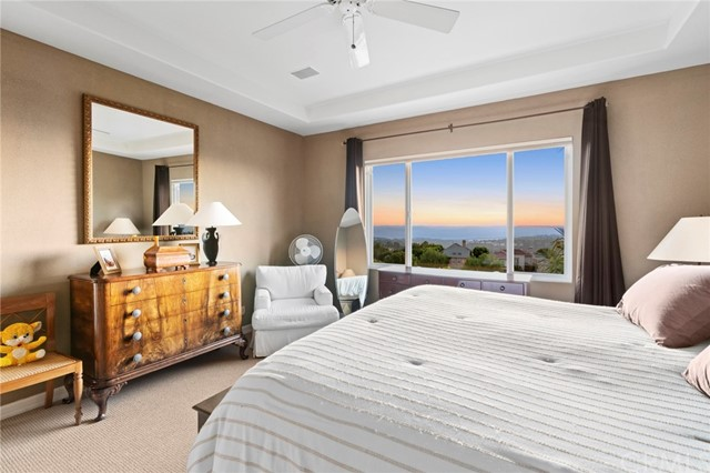 The fabulous master bedroom has ocean views during the day, and City lights at night!