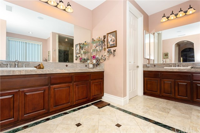 Master bathroom with Dual Sinks and separate Counters.