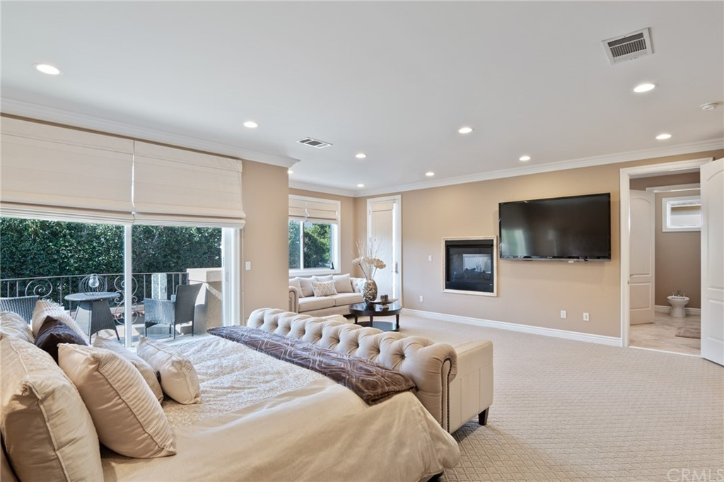 Master Bedroom with fireplace that you can see through into the bathroom.