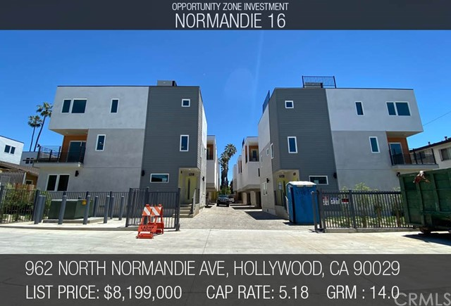 -NORMANDIE 16 -OPPORTUNITY ZONE- 16 NEW CONSTRUCTION UNITS NEAR COMPLETION IN EAST HOLLYWOOD- $585K GROSS RENTS- The subject property is a new construction 16-unit complex, Green Certified, and located in rapidly appreciating East Hollywood.  Final inspections are underway which would allow a buyer to take advantage of Opportunity Zone tax incentives, should buyer elect to close escrow prior to CofO. Sale may also be made to a traditional buyer looking to obtain the property at completion. A matching new construction 8 unit property two parcels north is also available for sale from the same seller which can be purchased separately or as a part of this sale.  This luxury complex is comprised of 8 duplexes, totaling 16 townhouse style units. The units are all generous in sizing with four units being three bedroom, eight units being two bedroom, and four units being one bedroom (31 bed 24 bath in total), all of which have private laundry. A total of 30 on-site parking spots provide secure and private parking for all tenants. Each unit is equipped with separate meters for water, gas and electricity as well as an owner's common area electric meter for exterior lighting and common area water meter for servicing and landscape irrigation.  Normandie 16 offers the welcoming residential atmosphere of home while being right in the heart of East Hollywood, blocks away from LA City College, the 101 Fwy, and a short distance from Silverlake, Hollywood, and downtown Los Angeles.