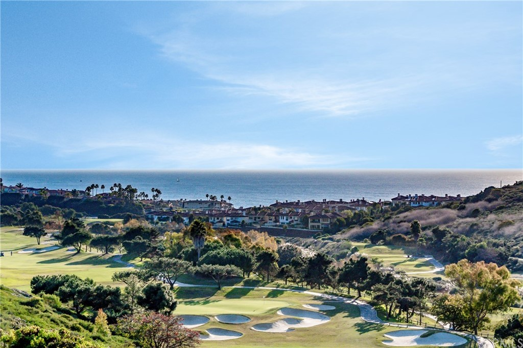 Ever-changing ocean, golf, sunset views from this transformed golf front home high above above the picturesque Monarch Beach Golf links guard gated Ritz Pointe. Peaceful 12 home culdesac. Enter through gated courtyard to grand foyer w/2 story ceiling. Open plan w/9' tall & vaulted ceilings in key areas. Fireplaces in living and family rooms, large dining room, remodeled island kitchen opens to breakfast nook, & very large family room wall of glass to entertainer's backyard with stamped concrete & covered patio. Kitchen has custom wood cabinetry, pots & pans drawers, soft close features, pull out trash, Gold Macaubas quartzite slab counters, pantry, stainless steel appliances, Bosch dishwasher, convection oven, microwave & chef-worthy induction cooktop. Three en-suite bedrooms, 3.5 baths. Master with private view balcony, sitting area, vaulted ceiling, ceiling fan, huge walk-in closet & remodeled bath with large shower, frameless glass enclosure, Roman tub, dual sink vanity w/quartzite slab top, soft close & porcelain tile floor. Second bath is completely remodeled with shower. Third bath is upgraded with a modern flare & has a tub/shower. Inside laundry, huge 2 car garage with built-in storage. Large baseboards, raised panel doors, LED recessed lighting, ceiling fans, dual pane windows, Lennox air conditioning & furnace, new water heater. New carpet on upper level & gorgeous flooring throughout the main level. Under 1 mile to ocean on private access to paved beach path