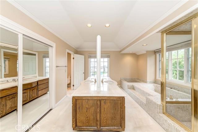 Master bathroom includes closets, toilet room, bathtub and shower