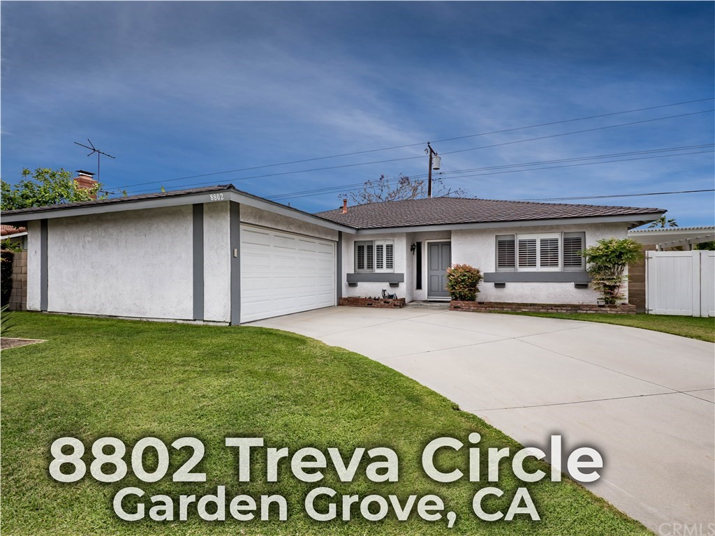 Newer single level end of cul-de-sac home meticulously maintained & thoughtfully renovated by original owner. Quiet and in great neighborhood convenient to desirable schools, parks, shopping & popular Little Saigon. Grassy yard & concrete patio that wraps around the house for lots of entertaining space with alumawood patio cover. Seller installed block wall around the entire yard & vinyl gate & RV access gates & a long concrete driveway. 2 car direct access garage with steel back roll up garage door with remote opener. Composition roof & contemporary paint scheme give this home great curb appeal. The design was ahead of its time with huge bedrooms & open living spaces. Smooth ceilings, white paint throughout, plantation shutters & central forced air heat. Kitchen has been remodeled with granite counters, stainless steel appliances (including fridge), pantry with roll out shelves & a breakfast bar that seats 5, all open to the family room with fireplace & ceiling fan & dining room. Formal living room is a large flexible space. Master suite can fit a California King bed plus night stands, dressers & have room to spare. You will love the walk-in closet with room for two people's wardrobes & the renovated master bath with enormous tile shower with frameless glass enclosure & long vanity with granite counter. Lots of storage. Wonderful neighborhood of 24 very special quality newer homes built in 1977