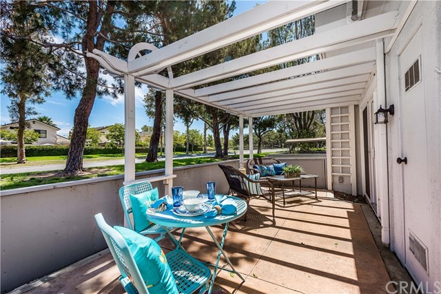 The large patio area provides enough space for a dining area as well as a conversation area!