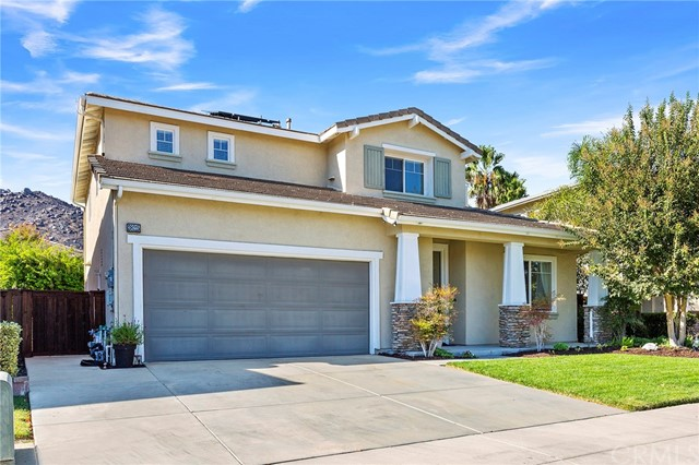 Great central location in the desirable Copper Canyon area of Murrieta.  2588 SF, 4 large bedrooms plus tech center, 2.5 baths and 3 car tandem garage. Spacious floor plan with an upgraded kitchen, huge center island with breakfast bar, stainless steel appliances and large walk-in pantry.  The kitchen and breakfast nook area open's up to the family room with beautiful fireplace and built in entertainment center.  Wood plank tile flooring throughout the entire main floor for ultimate durability and design. The back yard features a covered patio with solar shades, ceiling fans, spa, and surrounded by numerous fruit trees.  Located in the area's top schools.  Solar, LOW TAXES and NO HOA!