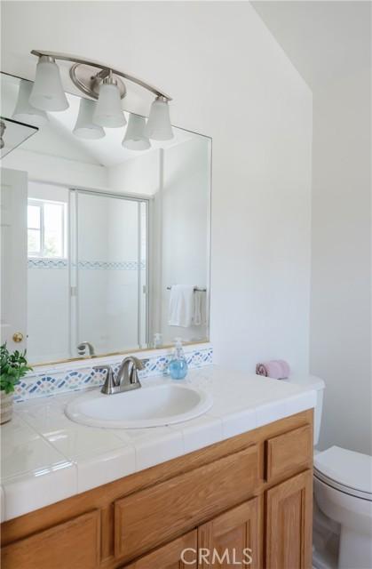 Light, bright, tile Bathroom in junior suite.