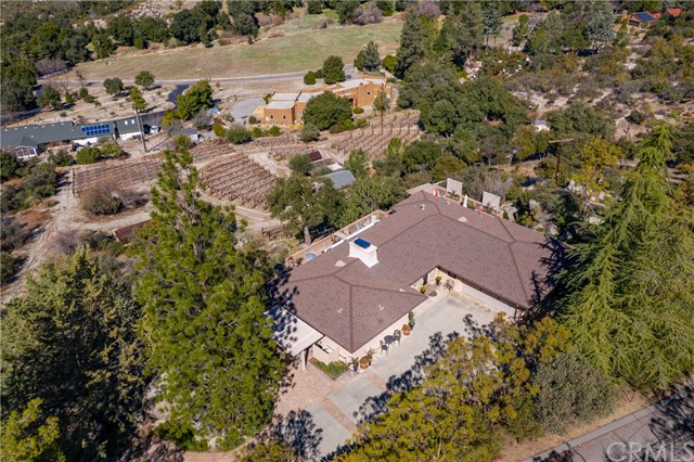 Aerial shot above house and property