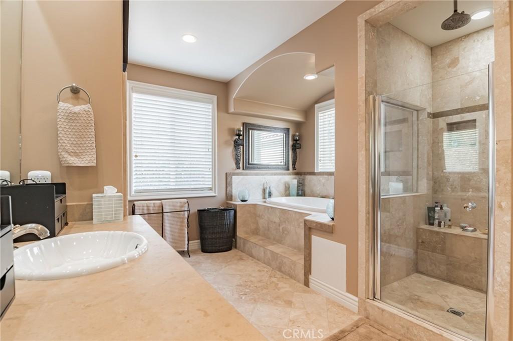 Master Bath with spa bathtub.