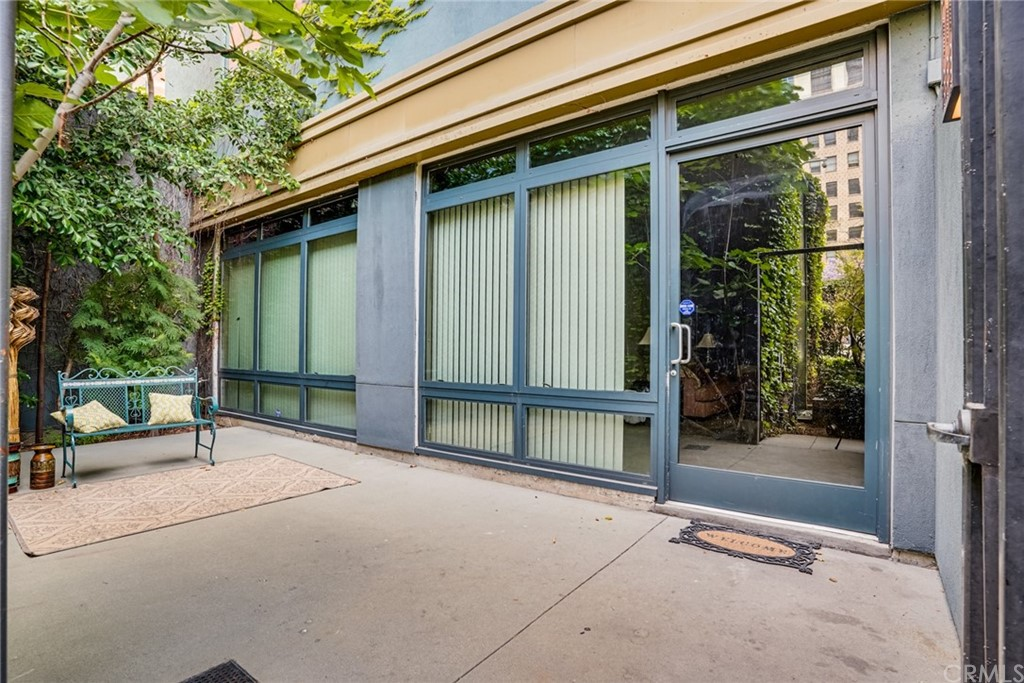 Private entrance with extra large enclosed patio