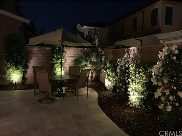 Back Patio & eating area at night