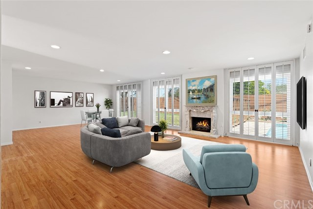 Living Room , fireplace and furniture - virtual staged