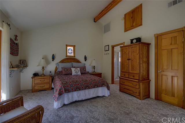 Master bedroom, vaulted ceilings, large walk-in cl